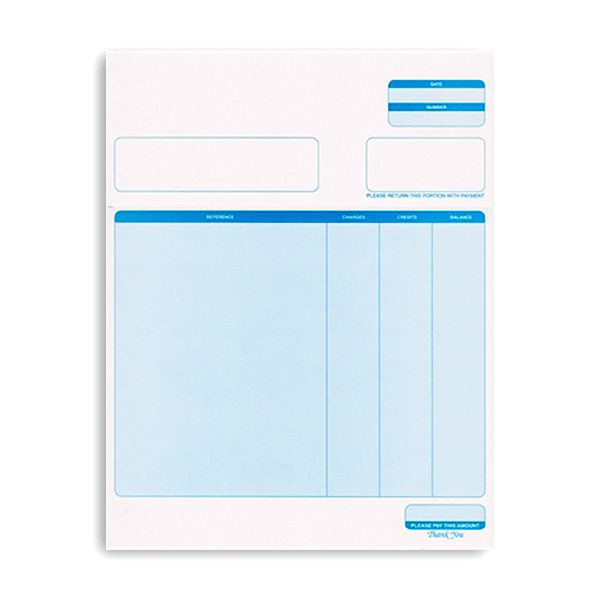 Printed invoices or statements used in our pool service software.