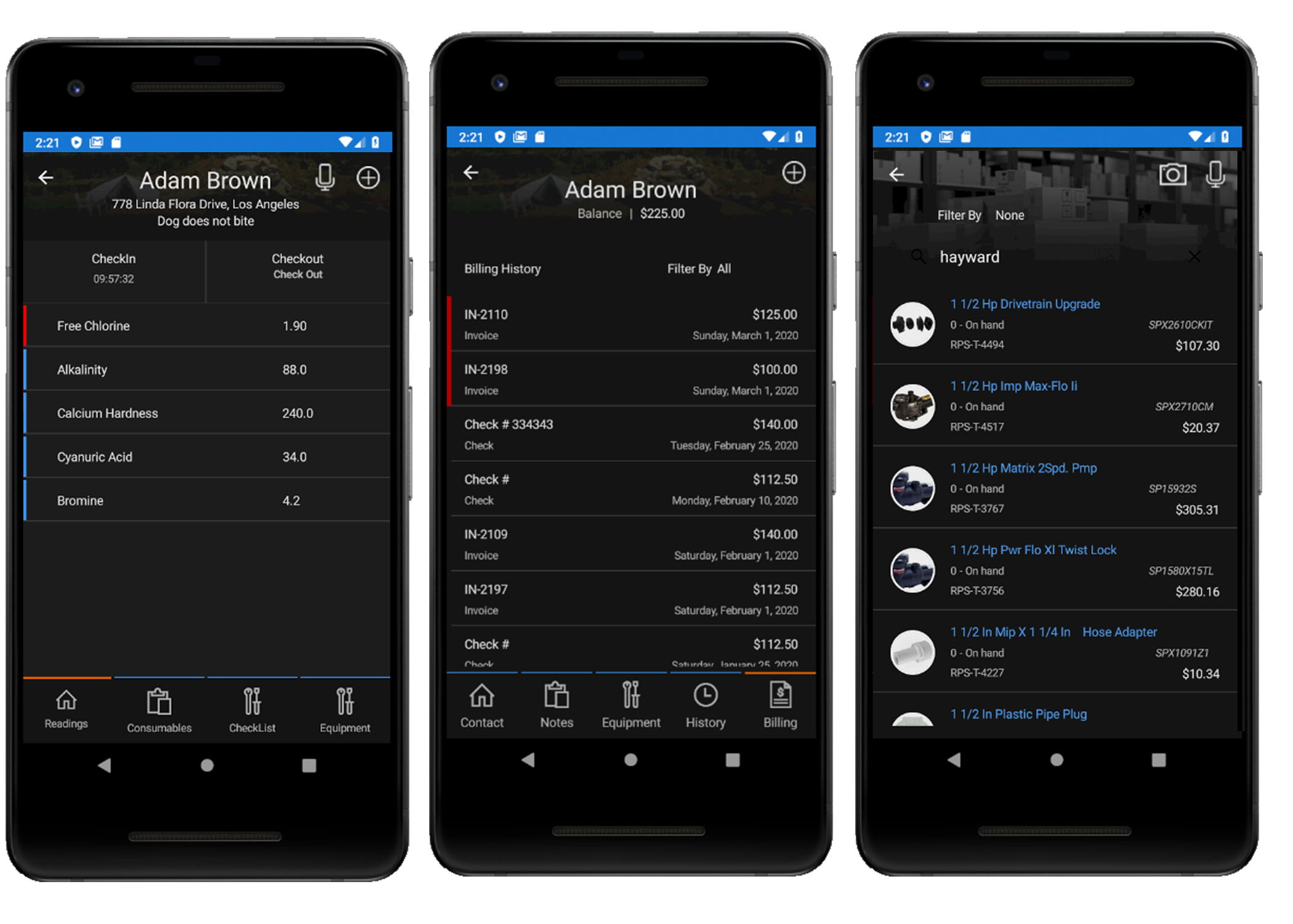 Three Android phones displaying chemical tracking, billing and inventory management in Wise Software - Enterprise.
