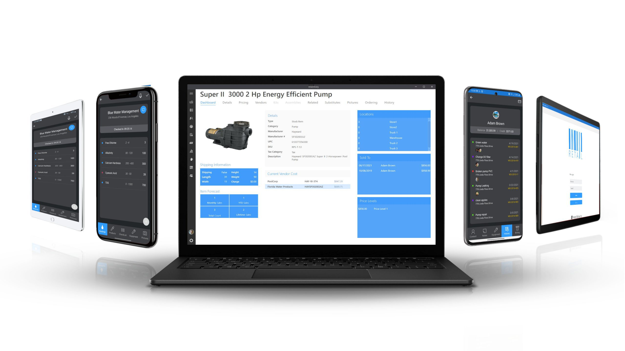 Wise Software - Enterprise running on a laptop, tablets and phones.